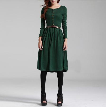 Платье Осень Зима Зеленое